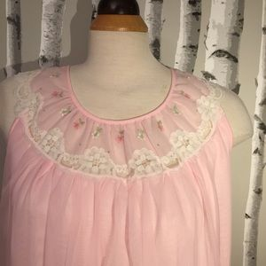 Vintage French Maid Pink Full Nightgown Size Large